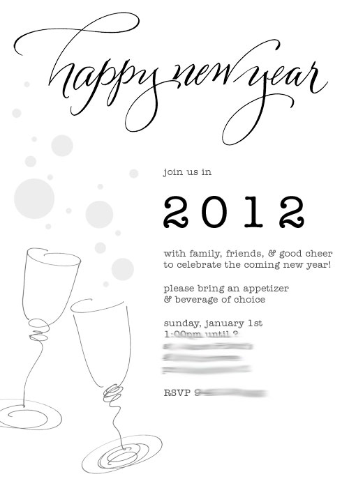 new year party invite @ Paperwhite Studio